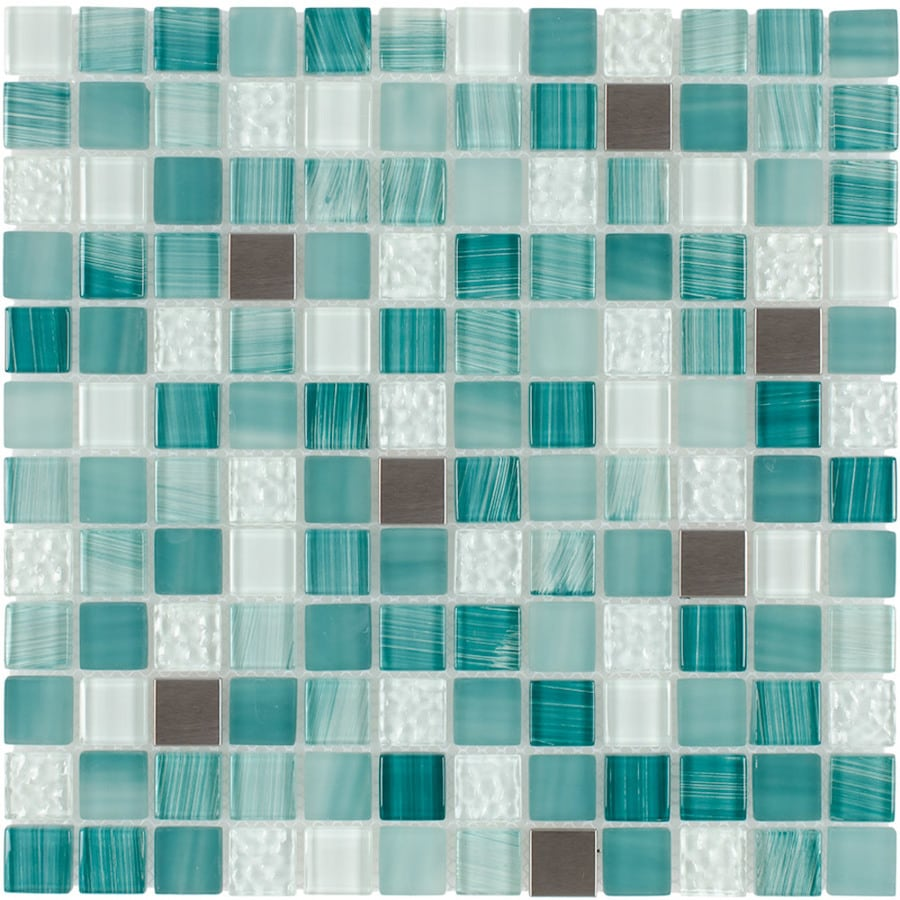 Shop Elida Ceramica Royal Green Uniform Squares Mosaic Glass and ...