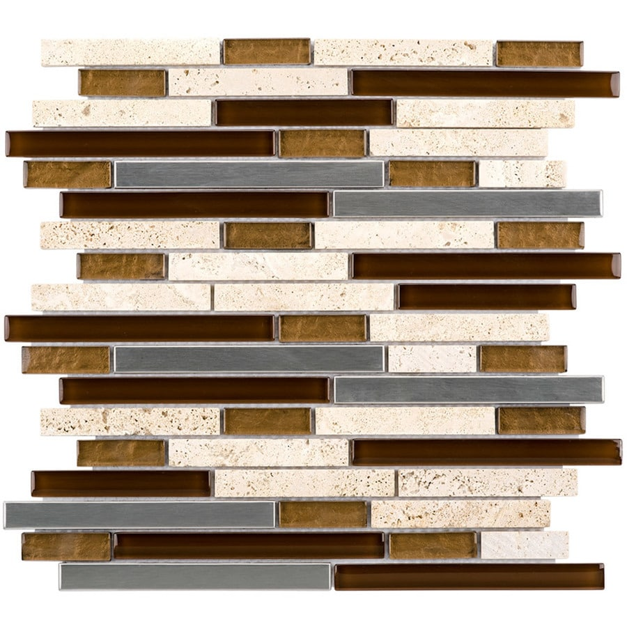Elida Ceramica Metal Horizons Linear Mosaic Glass/Metal/Stone Travertine Wall Tile (Common: 12-in x 12-in; Actual: 11.75-in x 12-in)