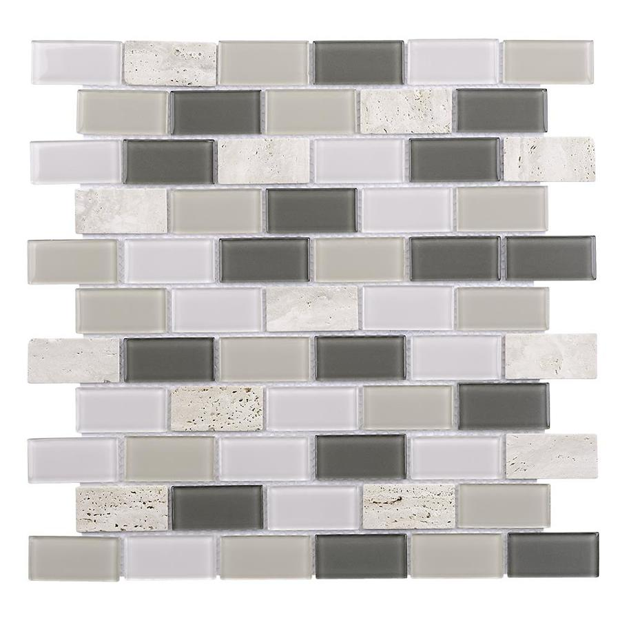 Elida Ceramica Ravenna Brick Mosaic Stone and Glass Travertine Wall Tile (Common: 12-in x 12-in; Actual: 10.75-in x 11.75-in)