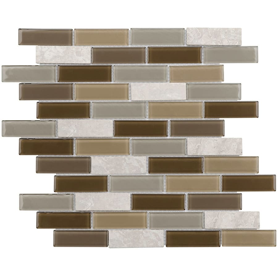 Elida Ceramica Florence Linear Mosaic Stone and Glass Marble Wall Tile (Common: 12-in x 14-in; Actual: 11.75-in x 11.75-in)