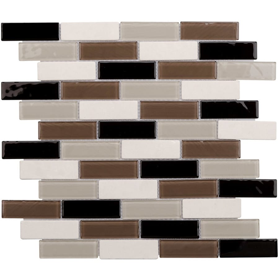 Elida Ceramica Milan Brick Mosaic Stone and Glass Marble Wall Tile (Common: 12-in x 14-in; Actual: 11.75-in x 11.75-in)