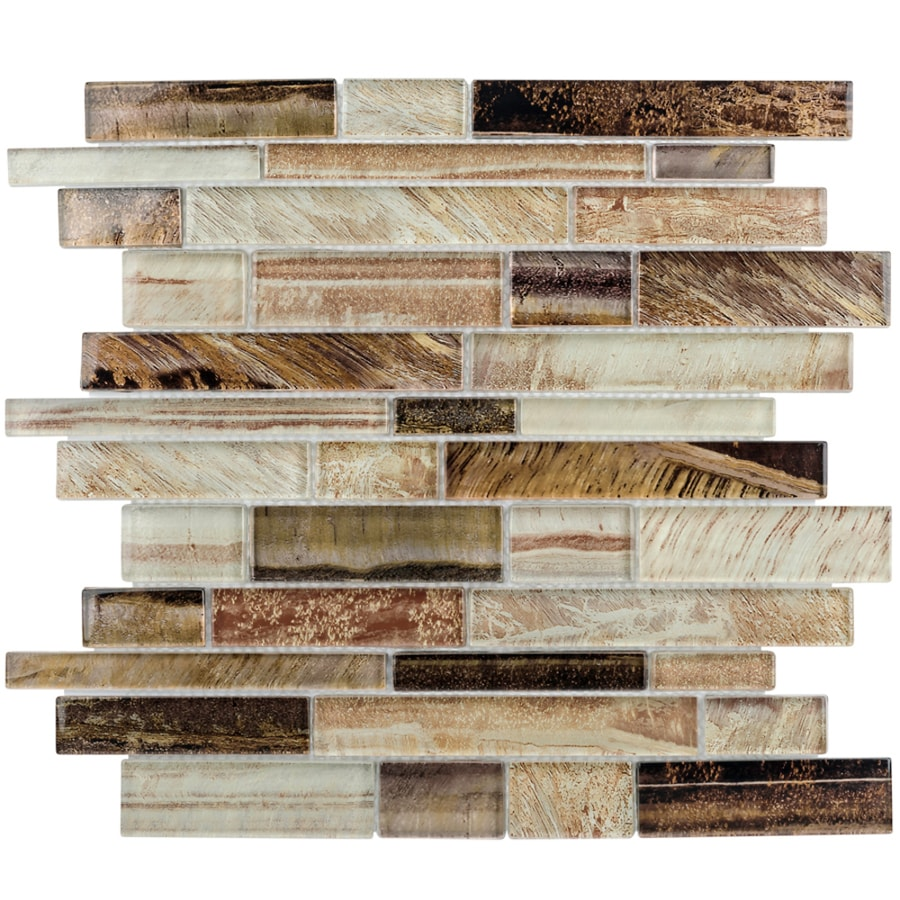 Elida ceramica laser metallic earth glass linear mosaic wall tile common 12 in
