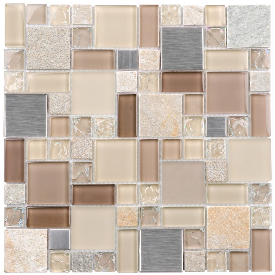 Glass Wall Tile: Shop Elida Ceramica Earth Cubes Stainless Mosaic Glass