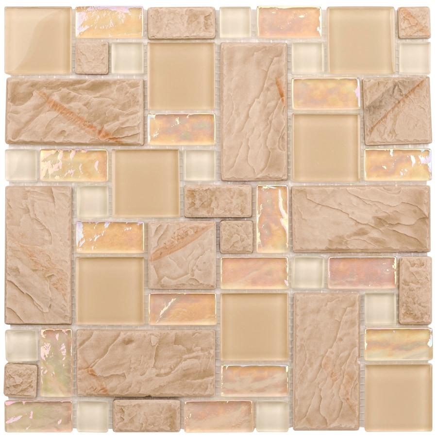 Elida Ceramica Textured Sand Cubes Random Mosaic Glass Metal Stone Slate Wall Tile