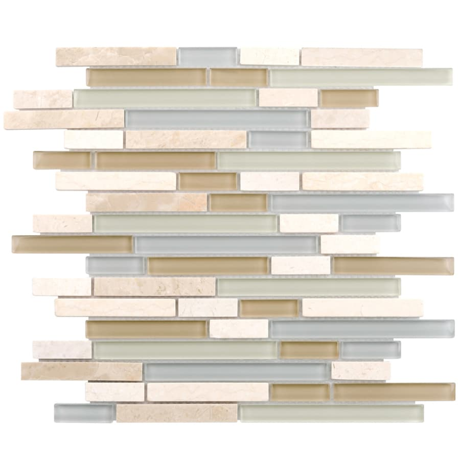 Elida Ceramica Dunes Falls Linear Mosaic Stone and Glass Marble Wall Tile (Common: 12-in x 14-in; Actual: 11.75-in x 11.75-in)