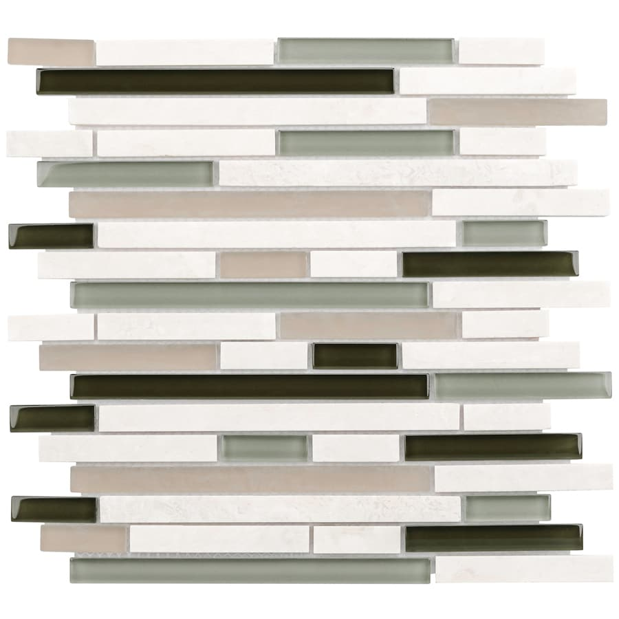 Elida Ceramica Dunes Seagrass Linear Mosaic Stone and Glass Travertine Wall Tile (Common: 12-in x 14-in; Actual: 11.75-in x 11.75-in)