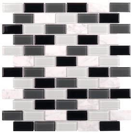 Elida Ceramica Midnight 12-in x 12-in Glossy Glass/Stone Marble Brick Mosaic Wall Tile