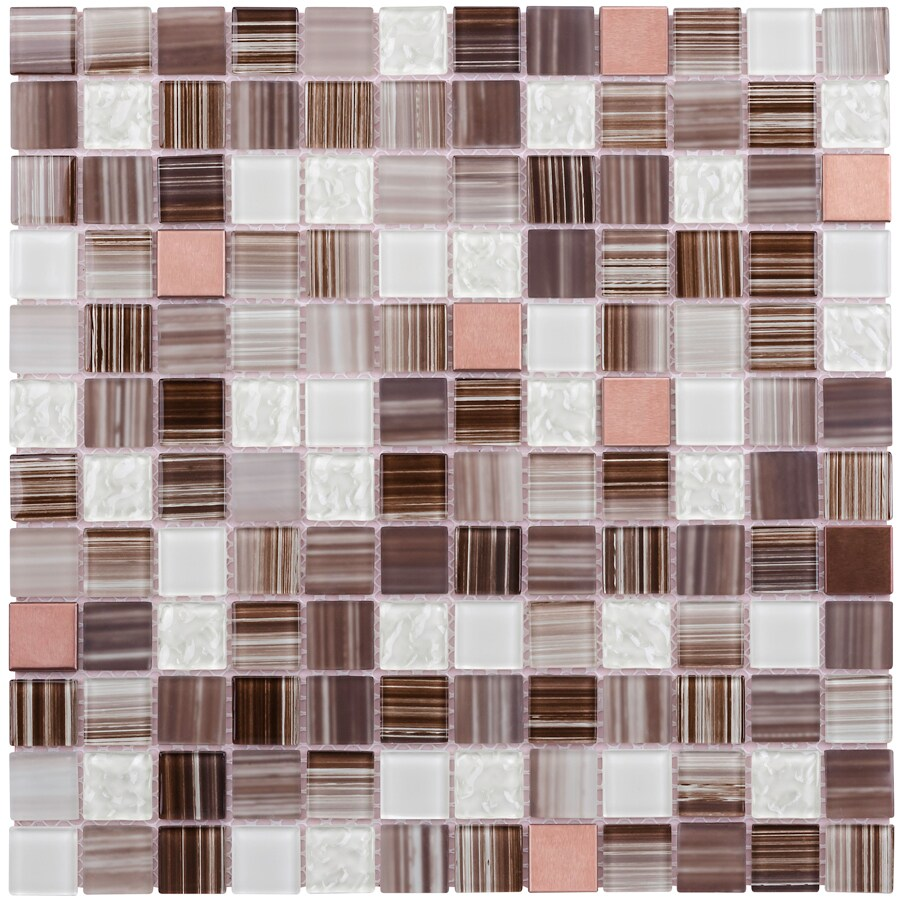 Elida Ceramica Brushed Copper Uniform Squares Mosaic Glass and Metal Wall Tile (Common: 12-in x 12-in; Actual: 11.75-in x 11.75-in)