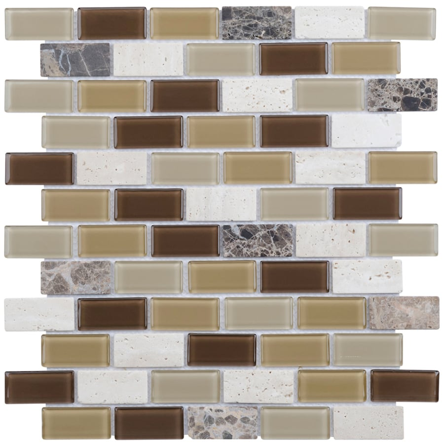 Elida Ceramica Carmel Brick Mosaic Stone and Glass Travertine Wall Tile (Common: 12-in x 12-in; Actual: 10.75-in x 11.75-in)