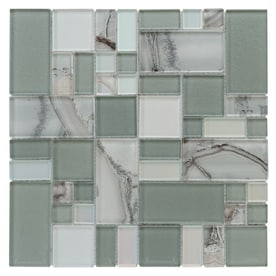 Allen Roth Volcanic Laser Cubes Mosaic Glass Wall Tile