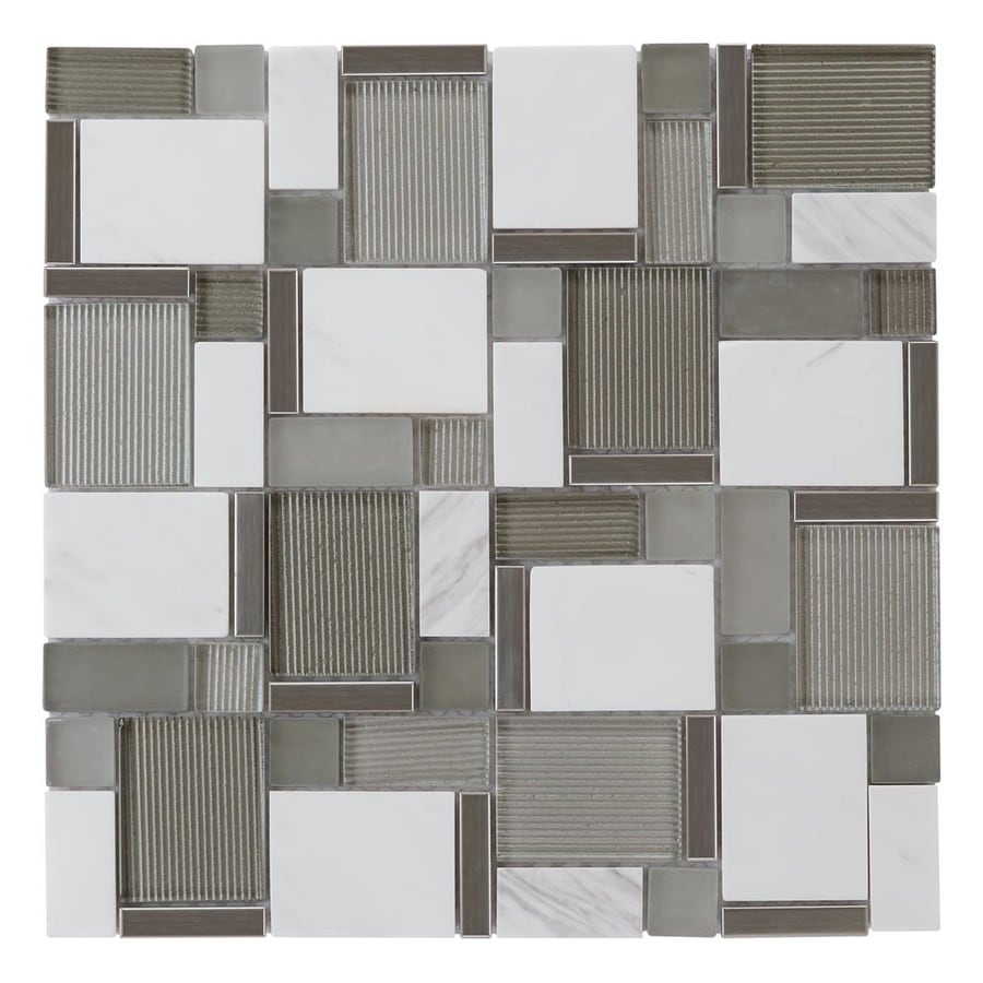 allen + roth Essentials Modern Cubes Mosaic Glass/Metal/Stone Marble Wall Tile (Common: 12-in x 12-in; Actual: 11.75-in x 11.75-in)