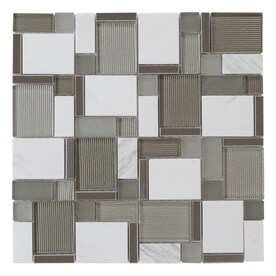 allen + roth Essentials Modern Cubes 12-in x 12-in Glossy Glass/Metal/Stone Marble Mosaic Wall Tile