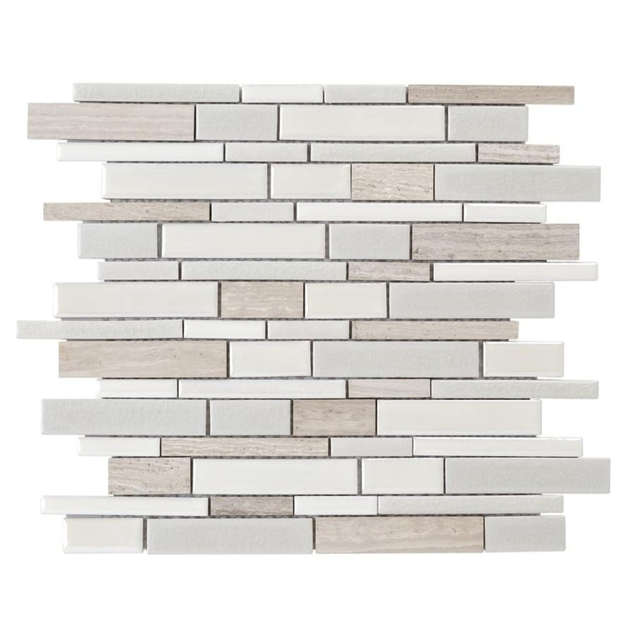 Elida Ceramica Crackled Linear Silk Linear Mosaic Porcelain Marble Wall Tile  (Common: 12