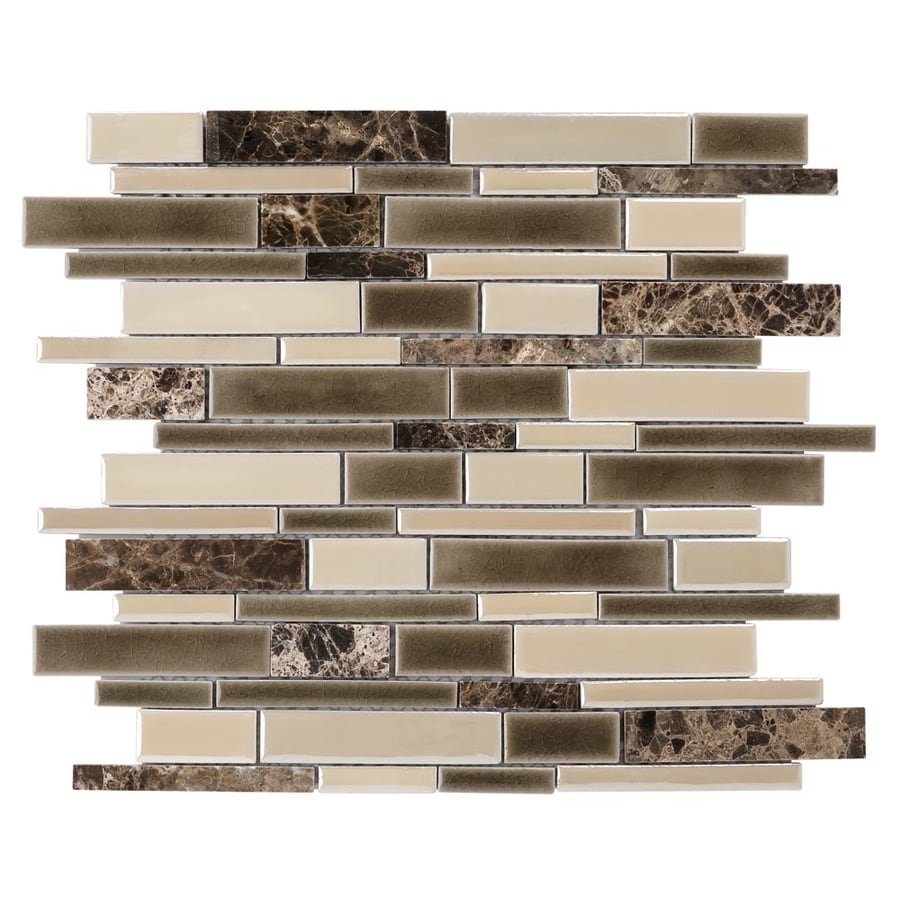 Shop Elida Ceramica Crackled Linear Latte Linear Mosaic