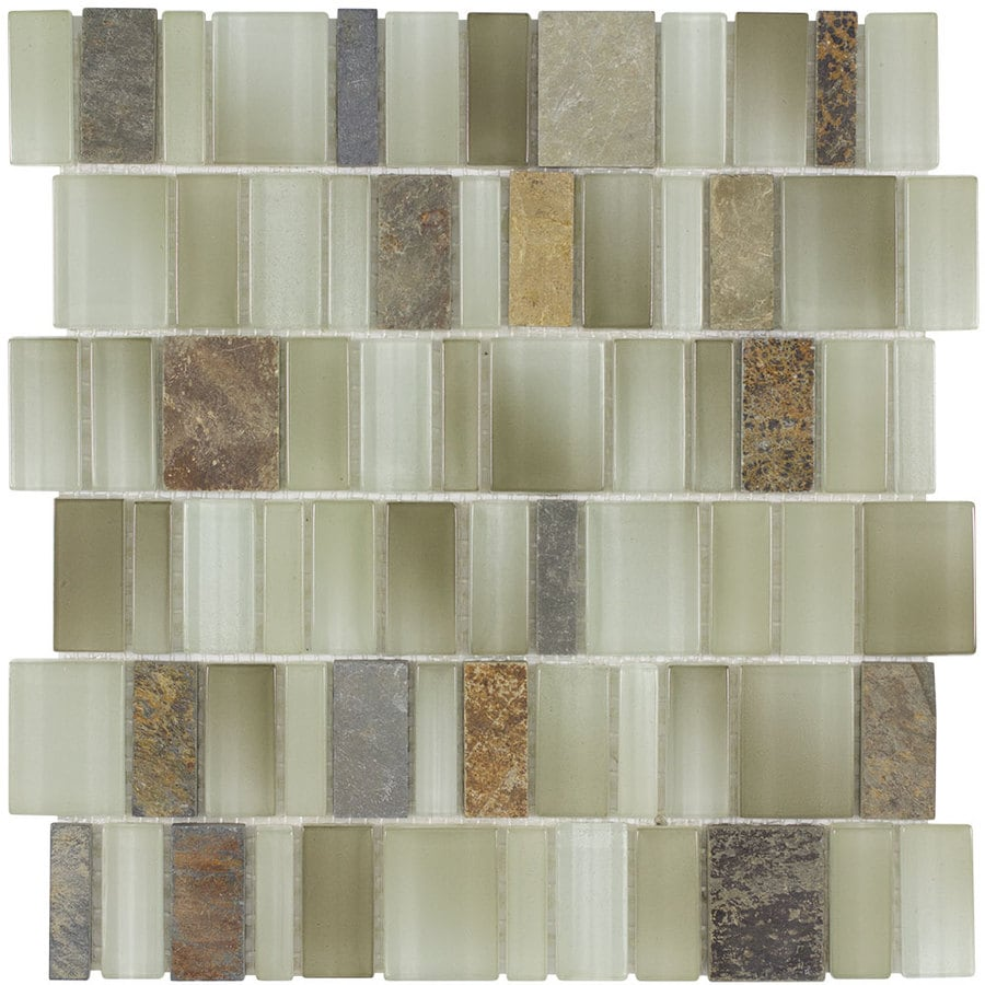 Elida Ceramica Monarch Autumn Staggered Mosaic Stone and Glass Marble Wall Tile (Common: 12-in x 12-in; Actual: 11.25-in x 11.75-in)