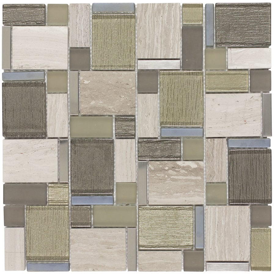 Elida Ceramica Stone Cubes Mosaic Glass/Metal/Stone Marble Wall Tile (Common: 12-in x 12-in; Actual: 11.75-in x 11.75-in)