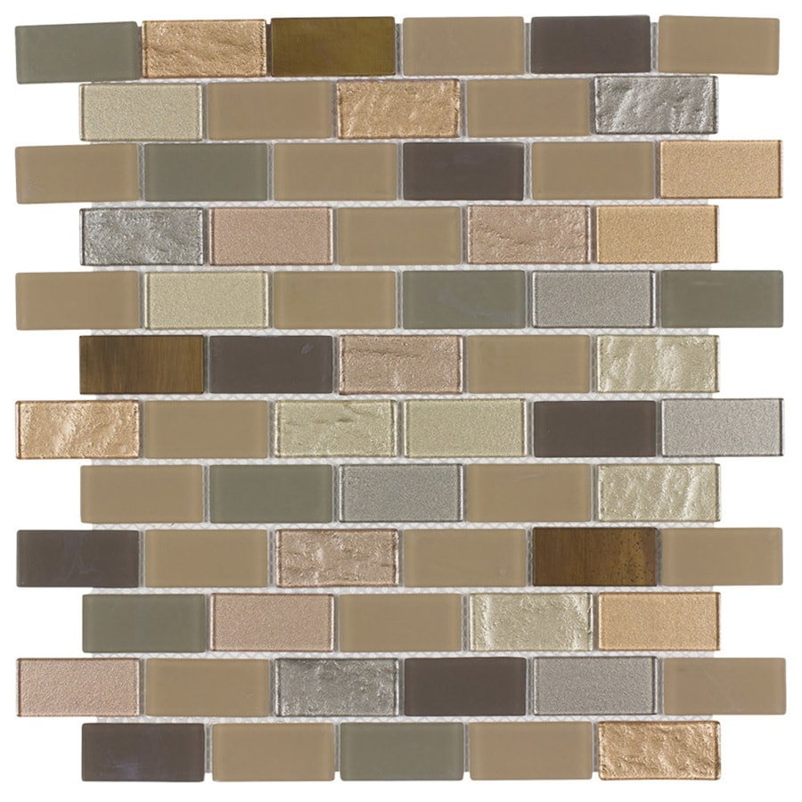Elida Ceramica Pompeii Brick Mosaic Glass and Metal Wall Tile (Common: 12-in x 12-in; Actual: 10.75-in x 11.75-in)