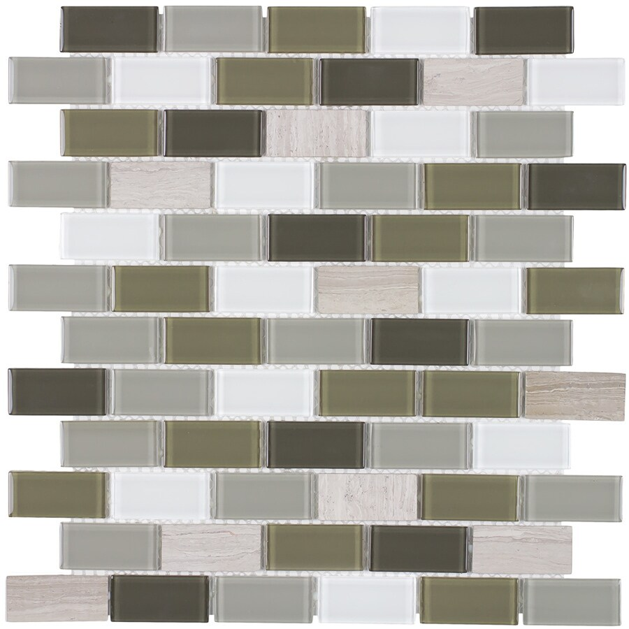 Elida Ceramica Blended Foundations Brick Mosaic Stone and Glass Marble Wall Tile (Common: 12-in x 12-in; Actual: 10.75-in x 11.75-in)