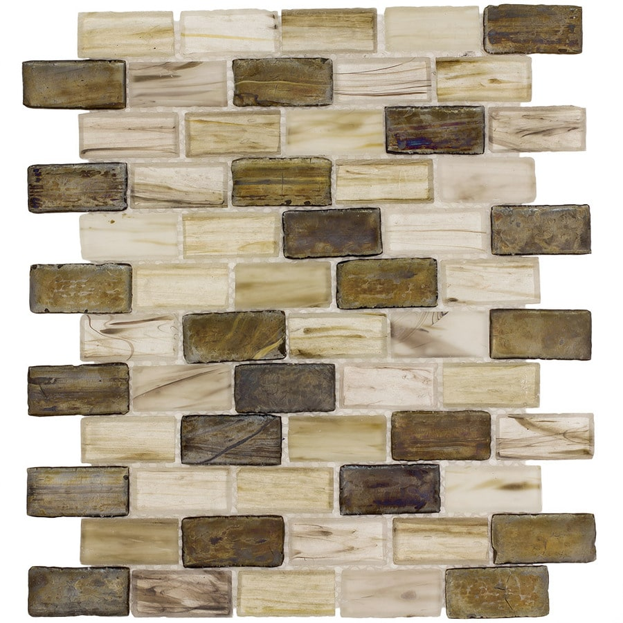 Elida Ceramica Melted Earth Brick Mosaic Glass Wall Tile (Common: 12-in x 12-in; Actual: 10.75-in x 13-in)