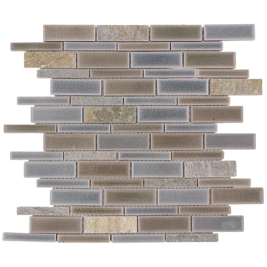 allen + roth River Bank Linear Mosaic Porcelain Slate Wall Tile (Common: 12-in x 14-in; Actual: 11.75-in x 12-in)