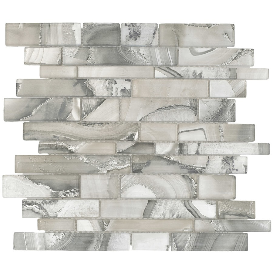 Sample White Glass Stone Metal Linear Glass Mosaic Tile: Elida Ceramica Volcanic Platinum 12-in X 12-in Glass