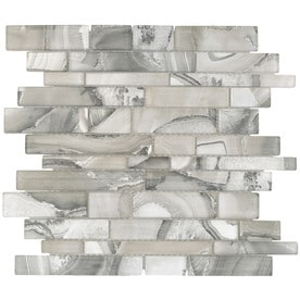 Elida Ceramica Volcanic Platinum Linear Mosaic Gl Wall Tile Common 12 In X