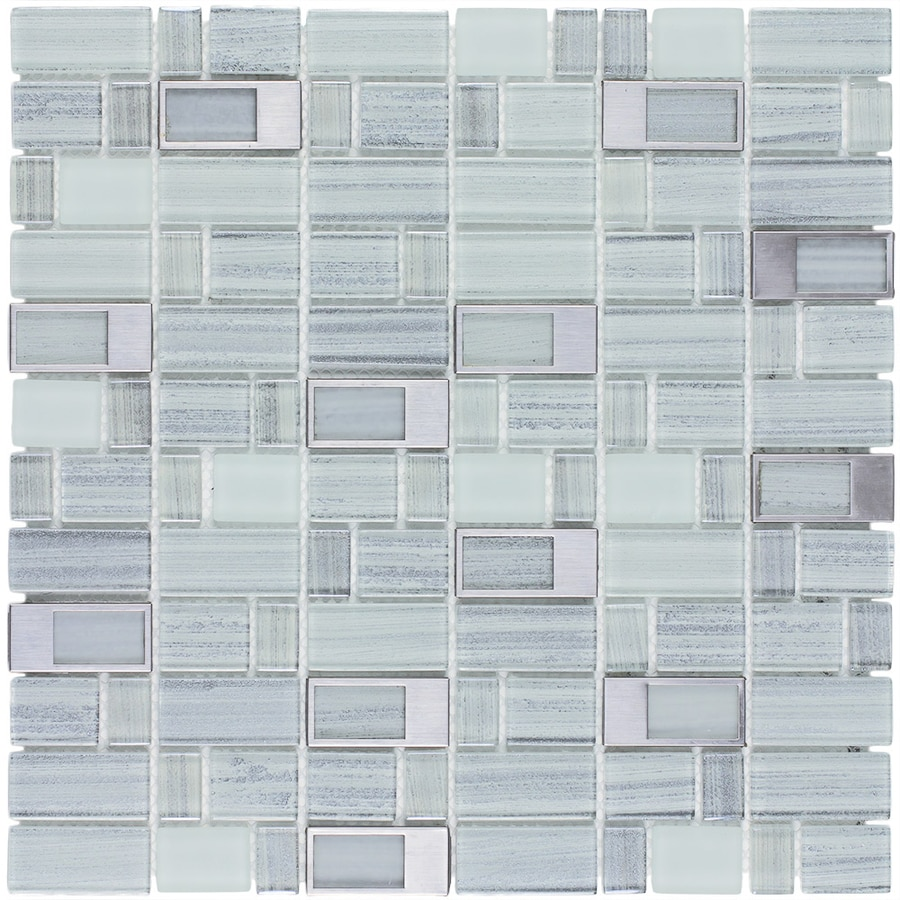 Shop Elida Ceramica Silver Windows Staggered Mosaic Glass and Metal ...