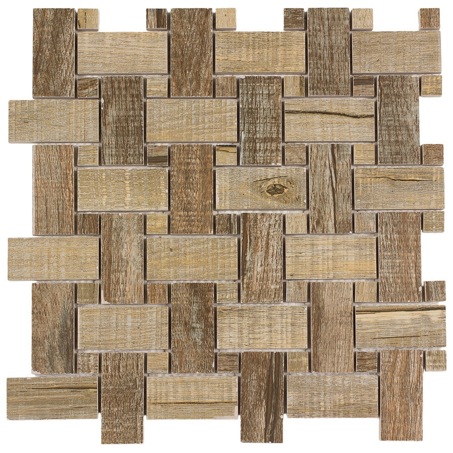 elida ceramica wooden basketweave mosaic wood look porcelain wall tile common 12in