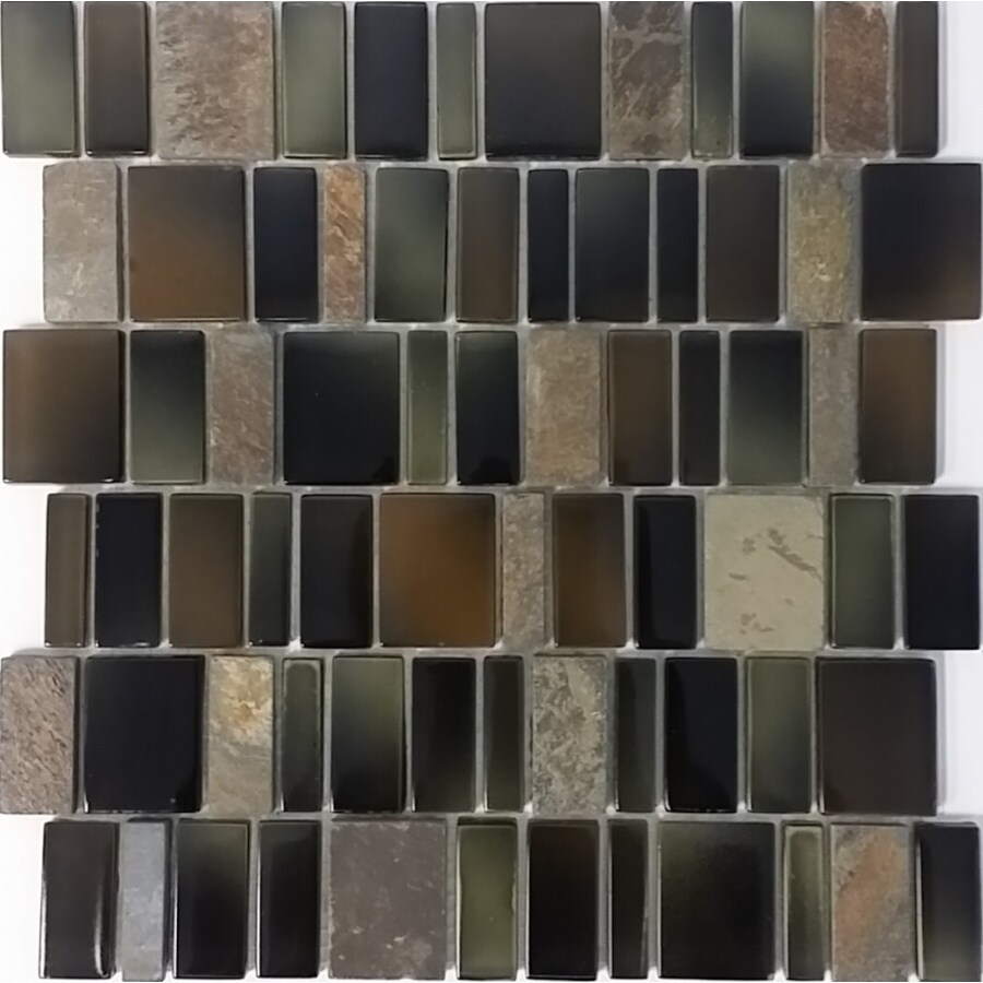 Shop elida ceramica blended monarch staggered mosaic stone and glass elida ceramica blended monarch staggered mosaic stone and glass slate wall tile common 12 dailygadgetfo Images