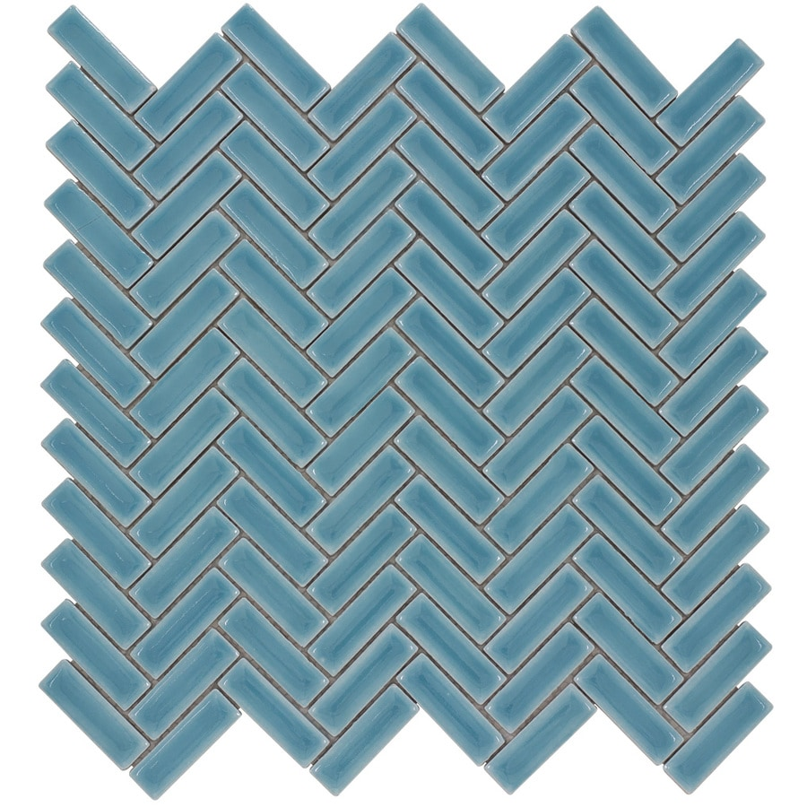 Elida Ceramica Chelsea Sea Herringbone Mosaic Ceramic Wall Tile (Common: 12-in x 12-in; Actual: 11-in x 11-in)