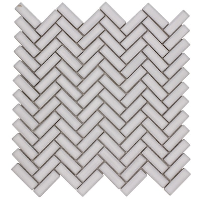 Chelsea White 12 In X Ceramic Herringbone Mosaic Wall Tile Common Actual 11