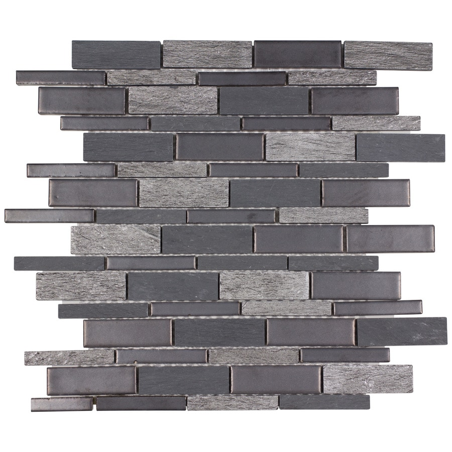 Elida Ceramica Dark Mountain Linear Mosaic Porcelain Slate Wall Tile Common 12 In
