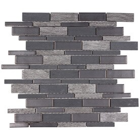 Elida Ceramica Dark Mountain Porcelain Linear Mosaic Slate Wall Tile Common 12 In