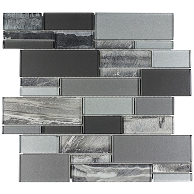 Laser Sky 12 In X Gl Linear Mosaic Wall Tile Common Actual 11 75