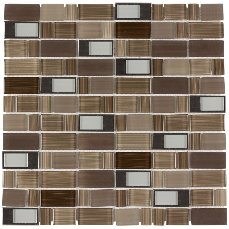 Elida Ceramica Brushed Country Windows Staggered Mosaic Glass and Metal Wall Tile (Common: 12-in x 12-in; Actual: 11.75-in x 11.75-in)