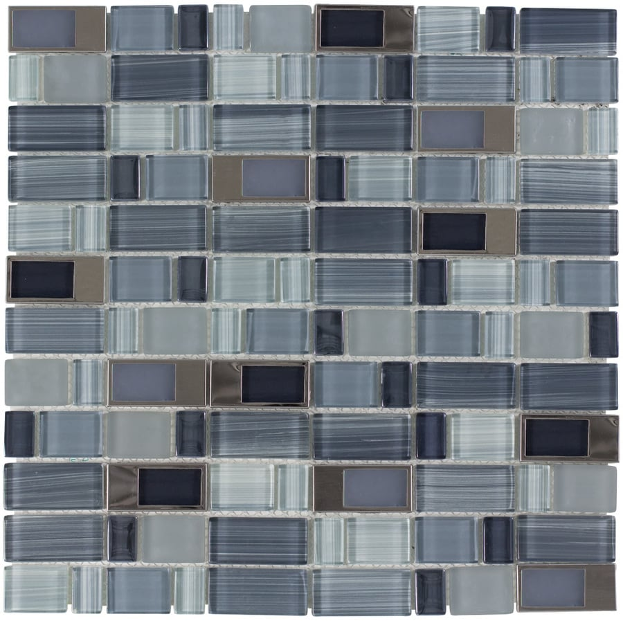 Elida Ceramica Brushed City Windows Staggered Mosaic Glass and Metal Wall Tile (Common: 12-in x 12-in; Actual: 11.75-in x 11.75-in)