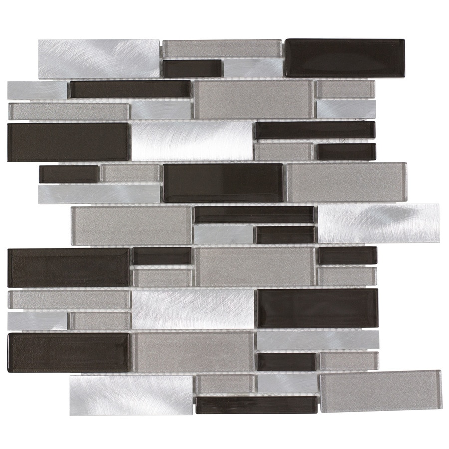 Elida Ceramica Sahara Beige Linear Mosaic Glass and Metal Wall Tile (Common: 12-in x 14-in; Actual: 11.75-in x 12-in)