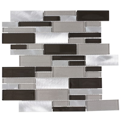 Sahara Beige 12 In X Gl And Metal Linear Mosaic Wall Tile Common Actual 11 81