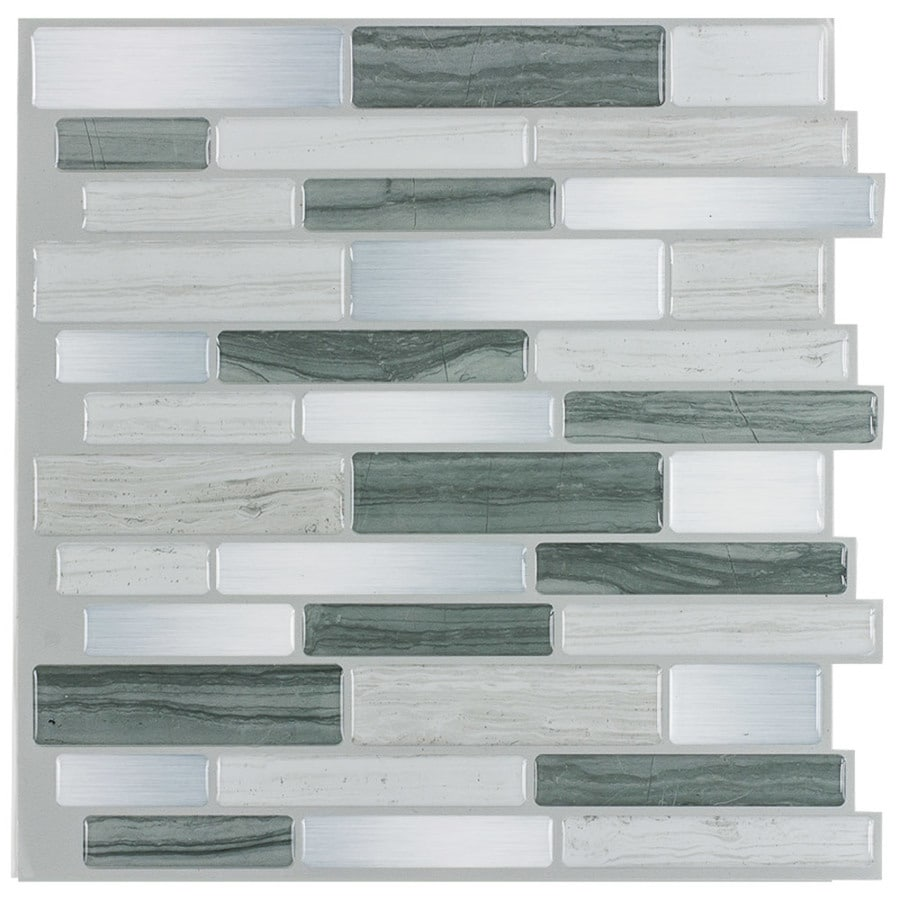 Peel&Stick Mosaics Grey Mist Linear Mosaic Composite Wall Tile (Common: 10-in x 10-in; Actual: 9.4-in x 10-in)