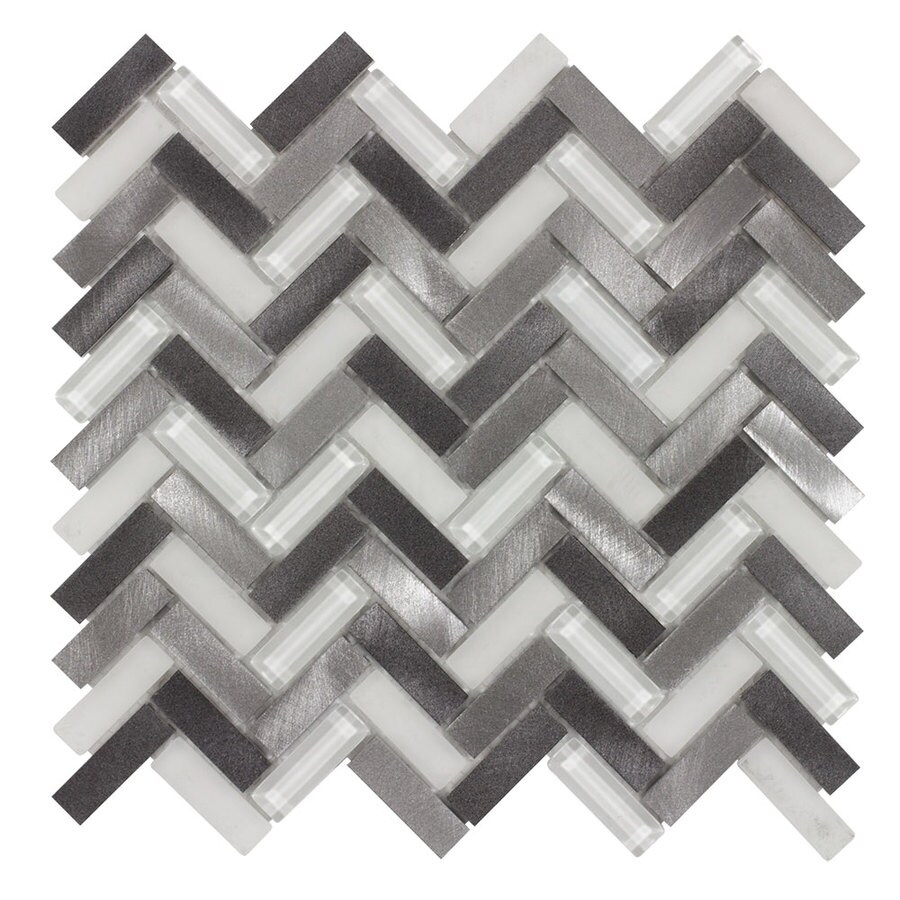 Elida Ceramica Azore Moon Herringbone Mosaic Glass and Metal Wall Tile (Common: 12-in x 12-in; Actual: 10.5-in x 11.15-in)