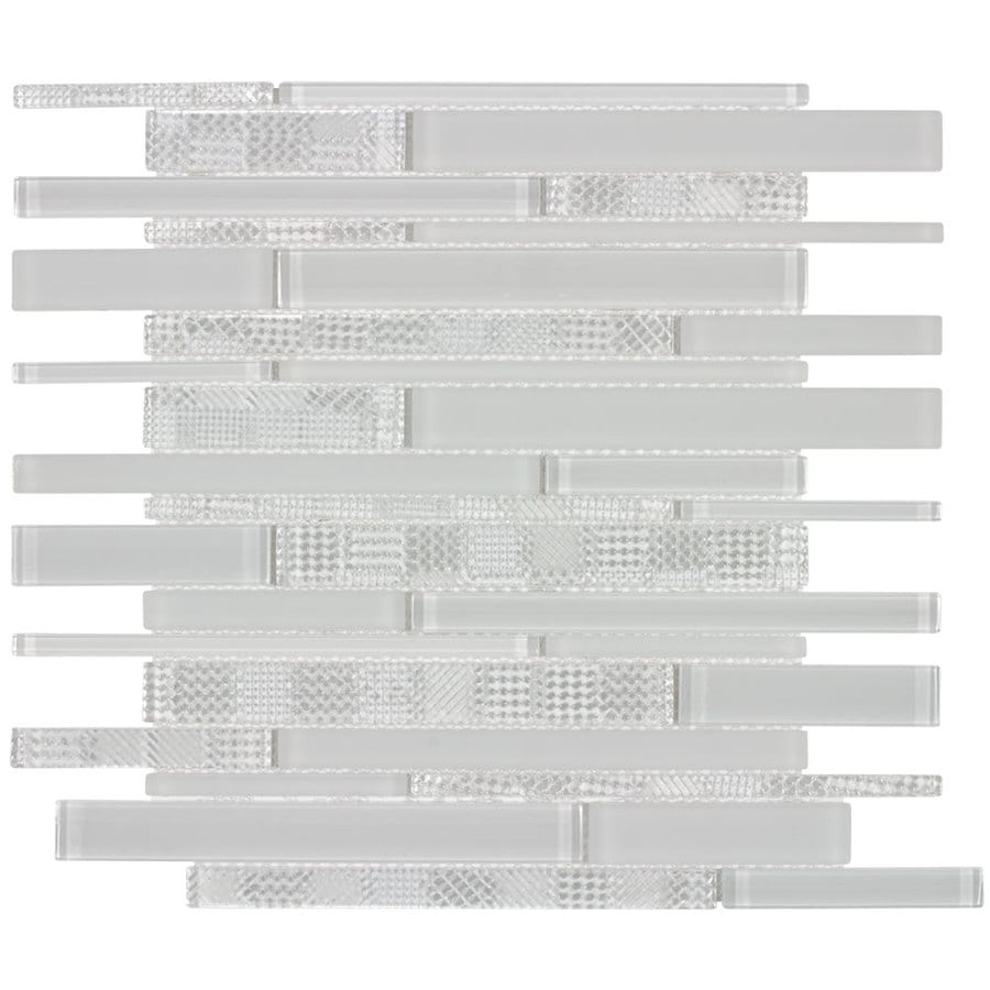 Elida Ceramica Linen Ice Linear Mosaic Glass Wall Tile (Common: 12-in x 12-in; Actual: 12.25-in x 11.75-in)