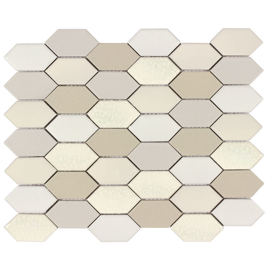 allen + roth Blended Pickets Honeycomb Mosaic Porcelain Wall Tile (Common: 11-in x 13-in; Actual: 13.45-in x 10.7-in)