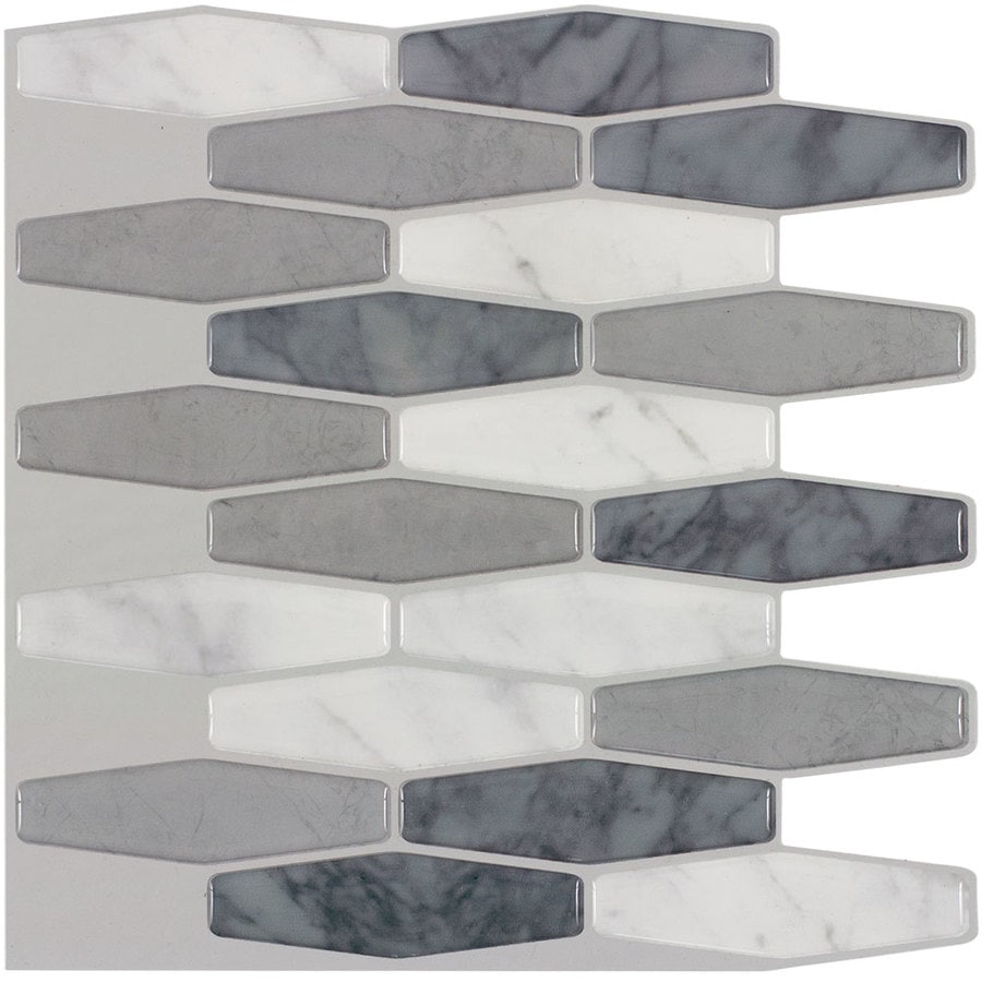 - Peel&Stick Mosaics Marmol Elongated 10-in X 10-in Glossy Composite
