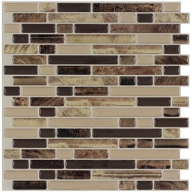 Peel&Stick Mosaics Rockbridge 10-in x 10-in Composite Linear Mosaic Wall Tile (Common: 10-in x 10-in; Actual: 10-in x 9.4-in)