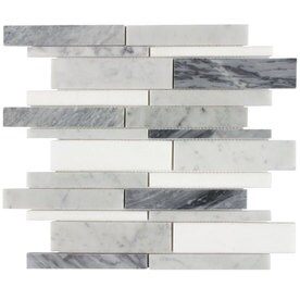 Elida Ceramica Bianca Blended 12-in x 12-in Linear Marble Mosaic Wall Tile (Common: 12-in x 12-in; Actual: 12-in x 12-in)