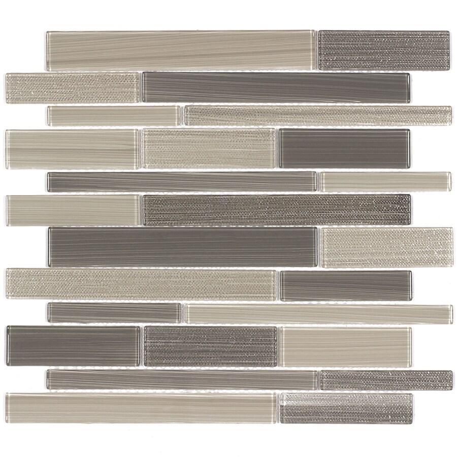 Elida Ceramica Camel Linear Mosaic Glass Wall Tile (Common: 12-in x 12-in; Actual: 11.57-in x 11.733-in)