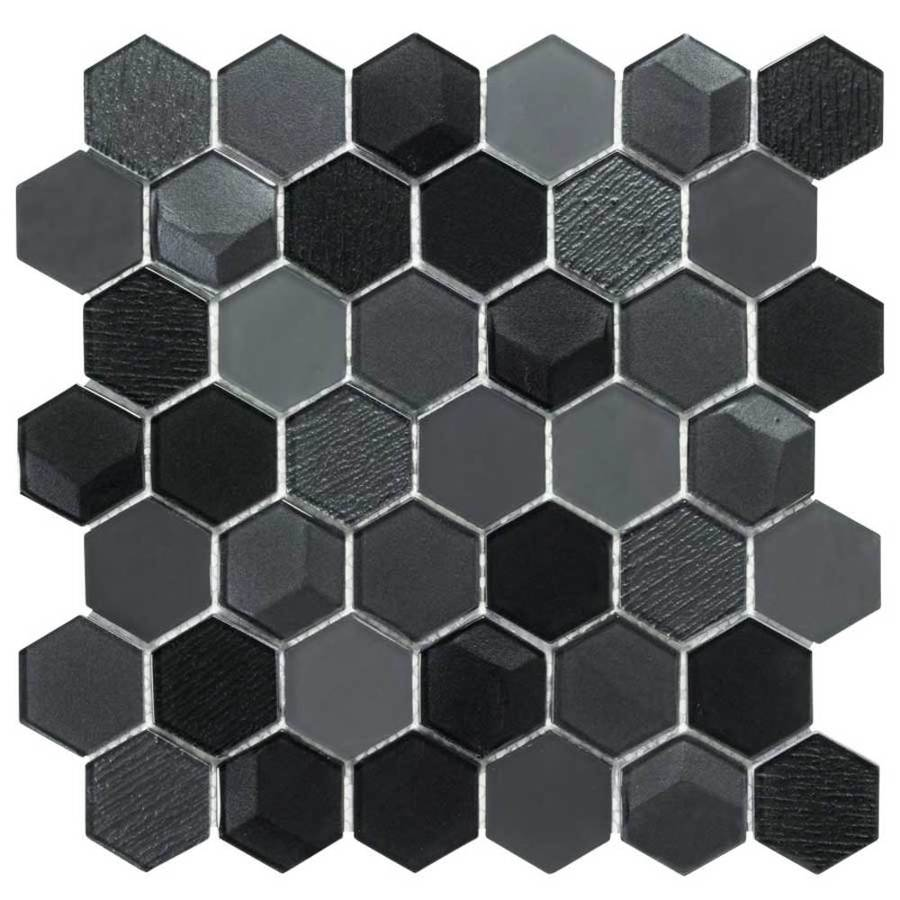 Elida Ceramica Spotlight Hex Mosaic Glass Wall Tile (Common: 12-in x 12-in; Actual: 12-in x 11.75-in)