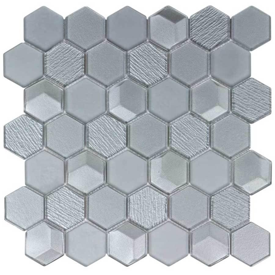 Elida Ceramica Moonlight Hex Mosaic Glass Wall Tile (Common: 12-in x 12-in; Actual: 12-in x 11.75-in)