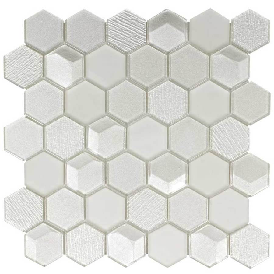 - Elida Ceramica Highlight Hex 12-in X 12-in Glossy Glass Mosaic