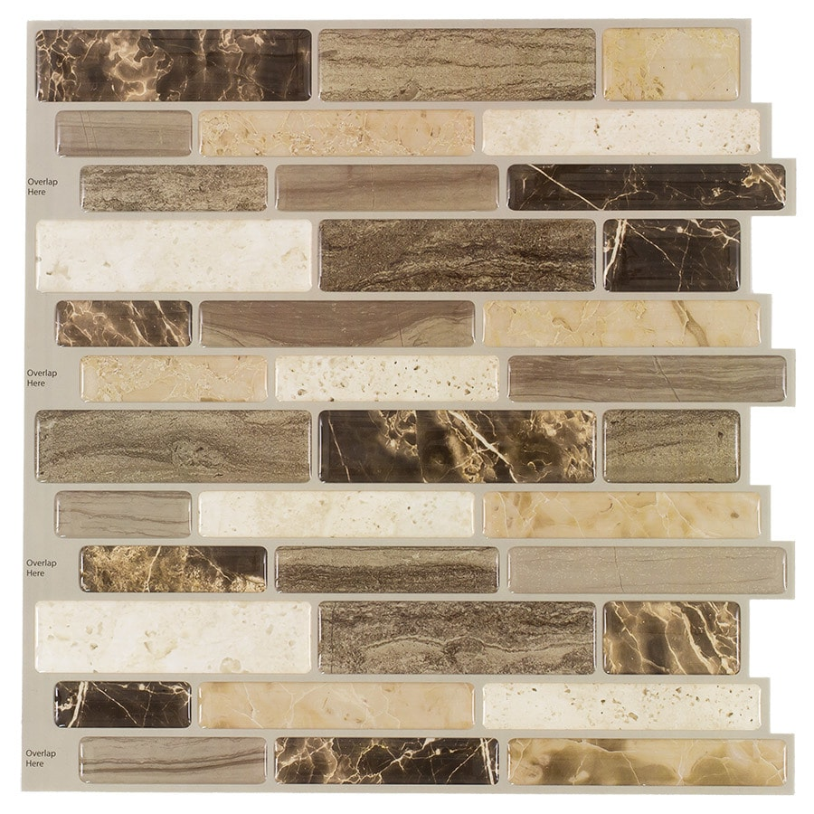 Peel&Stick Mosaics Peel and Stick 4-Pack Verona Beige Linear Mosaic Composite Wall Tile (Common: 10-in x 10-in; Actual: 10-in x 9.7-in)